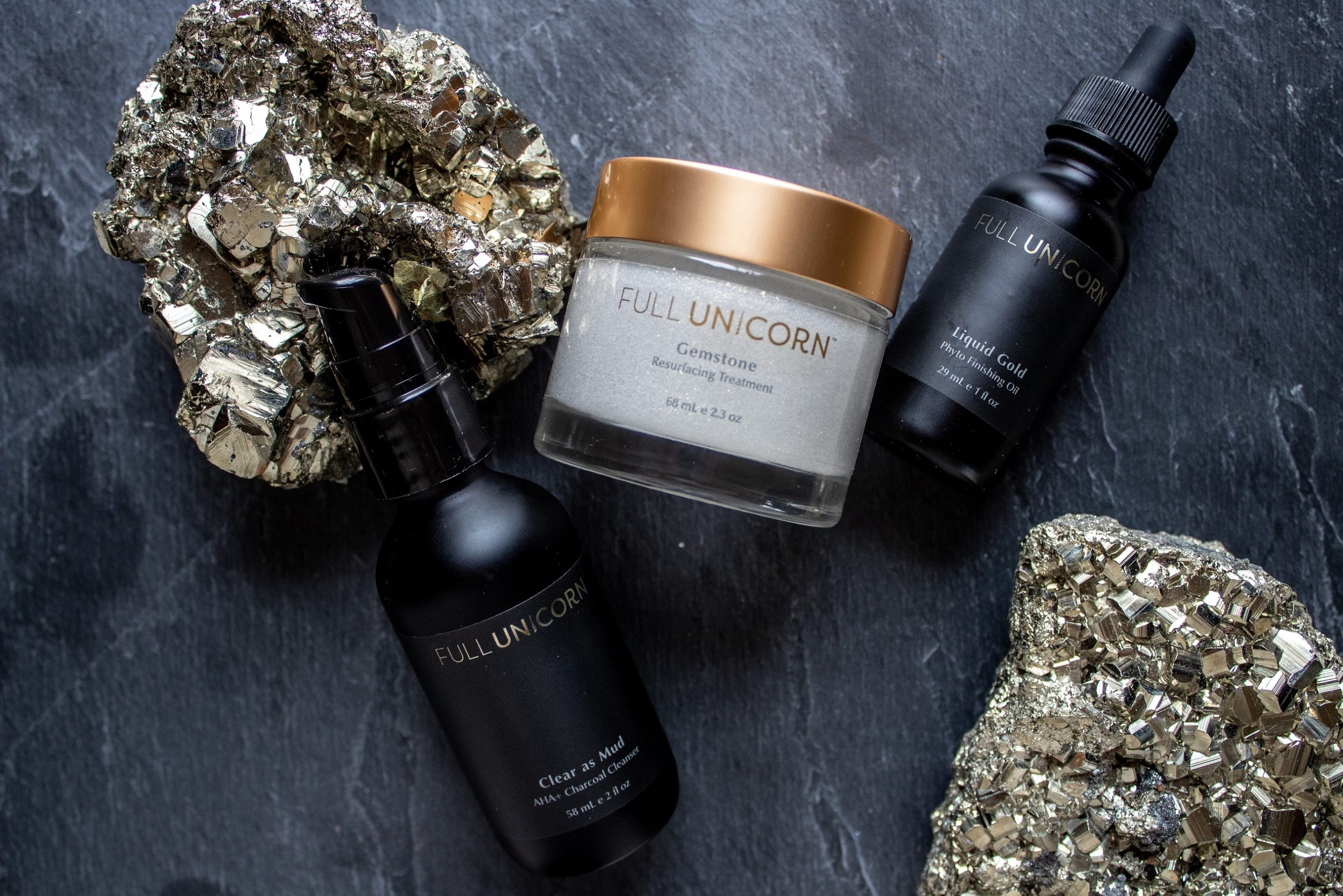 Full Unicorn Radiant Facial with gold pyrite on slate